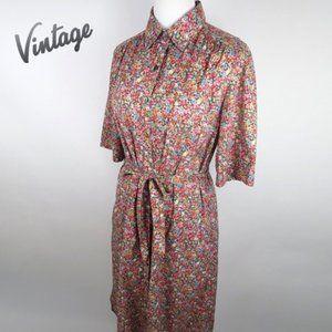 Vintage Ports International Floral Shirt Dress